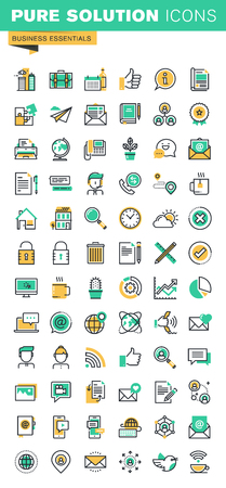 Modern thin line icons set of basic business essential tools, office equipment, internet marketing, contact information, communication. Outline icon collection for website and app design. Ilustração