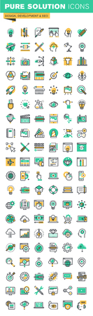 Modern thin line icons set of graphic design,  design, stationary, photo editing, website design and development, app development, seo, cloud computing, internet security. Vectores