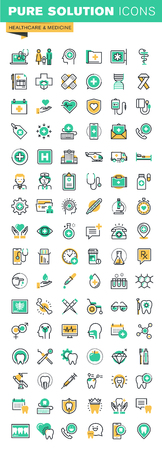 iconos de líneas delgadas modernas conjunto de servicios de tratamiento de salud, asistencia médica en línea, la investigación médica, el tratamiento dental y prótesis. Esquema colección de iconos para el sitio web y el diseño de aplicaciones. Ilustración de vector