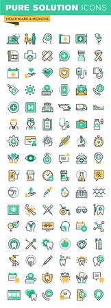 Moderne dünne Linie Icons Set von Gesundheit Behandlungsdienste, Online-medizinische Betreuung, medizinische Forschung, Zahnbehandlung und Prothesen. Skizzieren Icon-Sammlung für die Website und App-Design. Vektorgrafik