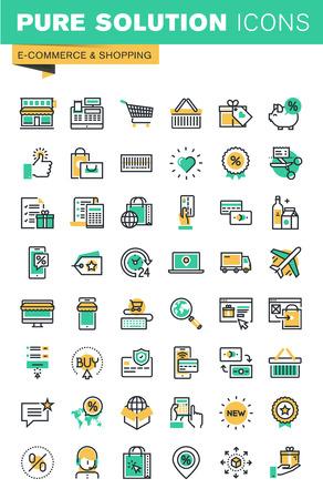 iconos de líneas delgadas modernas conjunto de compras, comercio electrónico, la entrega, el pago en línea, cupones. Esquema colección de iconos para el sitio web y el diseño de aplicaciones.