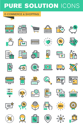media icons: Modern thin line icons set of shopping, e-commerce, delivery, online payment, coupons. Outline icon collection for website and app design.