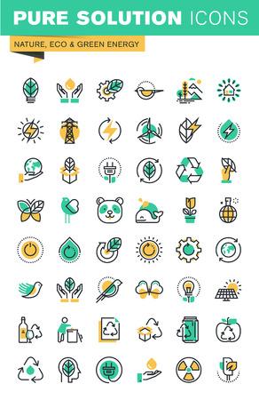 エコロジー、持続可能な技術、再生可能エネルギー、リサイクル、自然、動植物の保護のモダンな細い線のアイコンを設定します。Web サイトとアプ  イラスト・ベクター素材