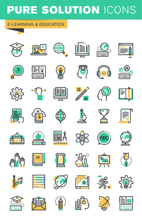 Modern thin line icons set of distance education, online learning, teaching, university and courses, e-book and digital library. Outline icon collection for website and app design.