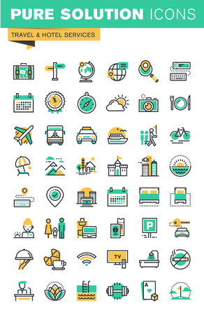 Modern thin line icons set of holidays offer, information about destinations, types of transport, hotel facilities. Outline icon collection for website and app design.