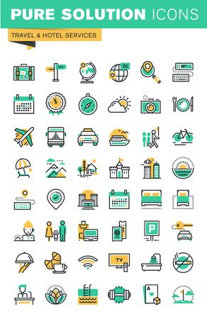 reizen: Moderne dunne lijn iconen set van vakantie bieden, informatie over bestemmingen, soorten vervoer, hotelfaciliteiten. Schetsen icoon collectie voor de website en app-design. Stock Illustratie