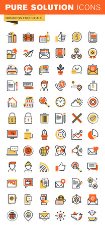 Basic thin line flat design web icons collection. Icons for web and app design, easy to use and highly customizable.