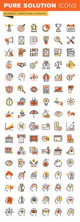 Affaires, finance et marketing mince ligne design plat web icons collection. Icônes pour la conception web et application, facile à utiliser et hautement personnalisable.