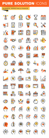 Business,finance and marketing thin line flat design web icons collection. Icons for web and app design, easy to use and highly customizable.