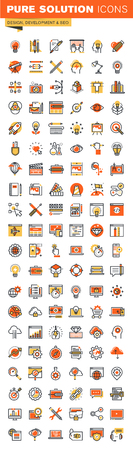 Design and development thin line flat design web icons collection. Icons for web and app design, easy to use and highly customizable.