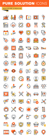 Healthcare thin line flat design web icons collection. Icons for web and app design, easy to use and highly customizable.