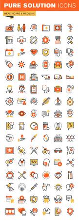 Healthcare dunne lijn platte ontwerp web iconen collectie. Pictogrammen voor web en app-design, eenvoudig te gebruiken en in hoge mate aanpasbaar. Stock Illustratie