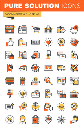 E-commerce thin line flat design web icons collection. Icons for web and app design, easy to use and highly customizable.