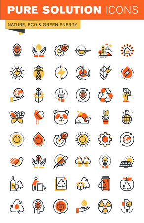 customizable: Environment thin line flat design web icons collection. Icons for web and app design, easy to use and highly customizable.