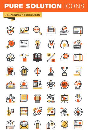 enseñanza: Educación delgada línea diseño plano colección de iconos web. Iconos para web y aplicaciones de diseño, fácil de usar y altamente personalizable.