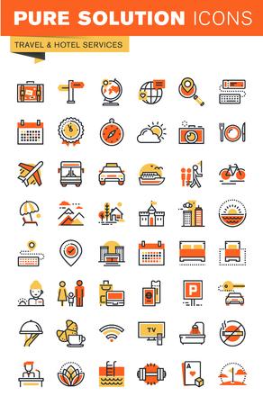 細い線のフラットなデザイン web アイコンのコレクションを旅行します。Web とアプリのアイコン デザイン、使いやすく、高度なカスタマイズ。
