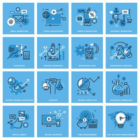 마케팅 계획 및 전략, 디지털 마케팅, 소셜 미디어 및 네트워킹, 모바일 마케팅, 키 계정 관리의가는 선 개념 아이콘의 집합입니다. 웹 사이트, 모바일