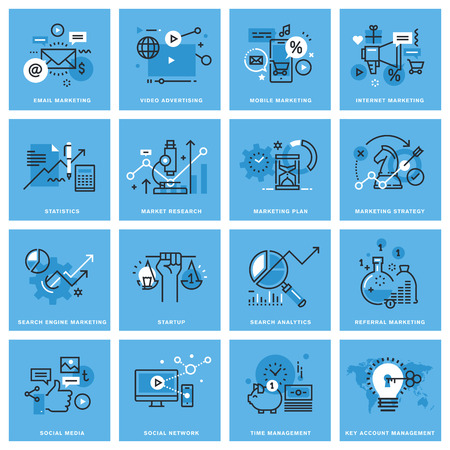 Set of thin line concept icons of marketing plan and strategy, digital marketing, social media and networking, mobile marketing, key account management. Icons for website, mobile website and app.