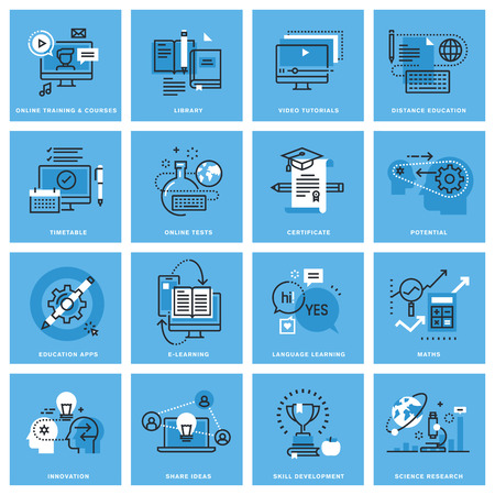 教育: 遠隔教育、オンライン トレーニング、能力開発、教育アプリの細い線概念アイコンのセットです。Web サイト、モバイル サイト、アプリ設計のプレミアム品質のア