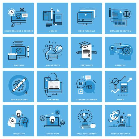 교육: 원격 교육, 온라인 교육, 기술 개발, 교육 애플 리케이션의가는 선 개념 아이콘의 집합입니다. 웹 사이트, 모바일 웹 사이트 및 앱 디자인 프리미엄 품질의 아이콘.