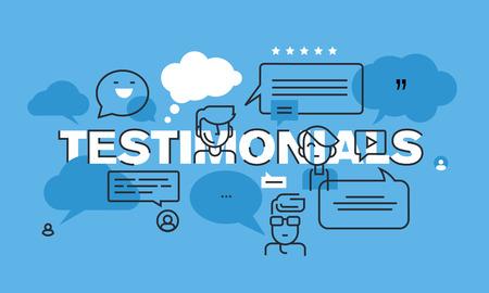 Moderne dünne Linie Design-Konzept für Testimonials Website Banner. Vektor-Illustration Konzept für Bewertungen und Werbung für Produkte und Dienstleistungen, Unternehmen oder Produktpräsentation. Vektorgrafik