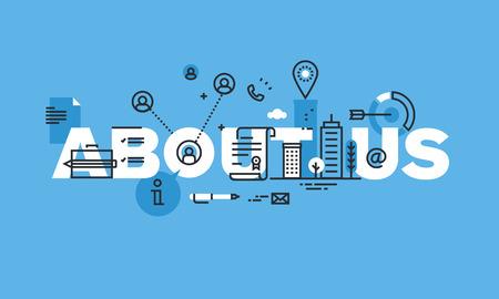 モダンな細い線はウェブサイトのバナーについて私たちのコンセプトを設計します。基本的な会社や個人情報をベクトル図概念。  イラスト・ベクター素材