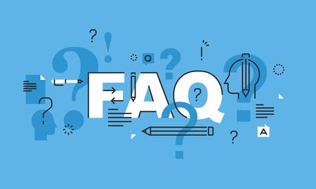 Cienka linia do koncepcji projektu strony FAQ sztandarem. Koncepcja ilustracji wektorowych dla często zadawane pytania lub pytań i odpowiedzi, obsługi klienta lub klientów, produktów i informacji o usługach. Ilustracje wektorowe