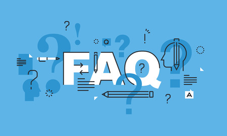 frequently: Thin line design concept for FAQ website banner. Vector illustration concept for frequently asked questions or questions and answers, client or customer support, product and service information.