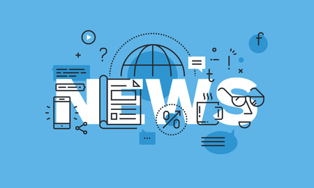 recent: Modern thin line design concept for news website banner. Vector illustration concept for product and services information, recent events and activities information, newsletter contact form.