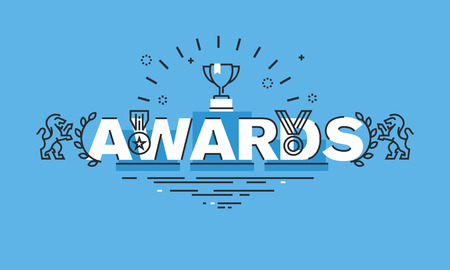 business products: Thin line design concept for awards website banner. Vector illustration concept for information about awards for the business success, sports achievements, quality of products, charity work, science. Illustration