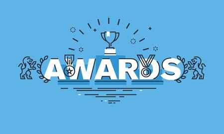 línea de concepto de diseño delgado para los premios bandera del Web site. concepto de ilustración vectorial para obtener información sobre los premios para el éxito del negocio, los logros deportivos, calidad de los productos, obras de caridad, en la ciencia.