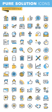 Set of thin line flat design icons of business essentials. Icons for websites, mobile websites and apps, easy to use and highly customizable.