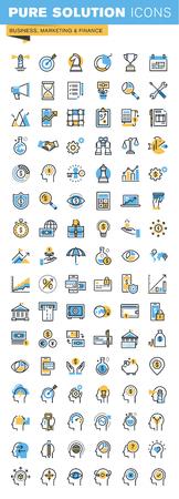 ビジネス、マーケティング、ファイナンスの細い線のフラットなデザイン アイコンのセットです。Web サイト、モバイル サイト、アプリ、使いやす
