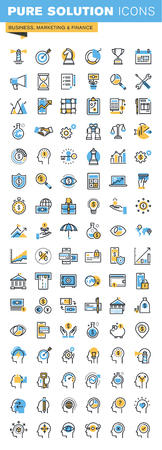 Set of thin line flat design icons of business, marketing and finance. Icons for websites, mobile websites and apps, easy to use and highly customizable.