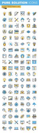 Conjunto de línea delgada iconos del diseño plano de diseño, desarrollo web y SEO. Iconos para sitios web, sitios web y aplicaciones móviles, fáciles de usar y altamente personalizable.