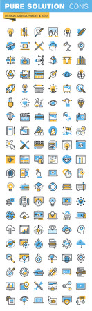 Set of thin line flat design icons of design, web development and seo. Icons for websites, mobile websites and apps, easy to use and highly customizable.