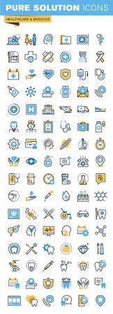 Set di sottile linea piatta icone del design di sanità e della medicina. Icone per i siti web, siti web e applicazioni mobili, facile da usare e altamente personalizzabile.
