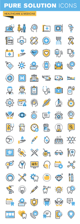 Set of thin line flat design icons of healthcare and medicine. Icons for websites, mobile websites and apps, easy to use and highly customizable. Ilustração