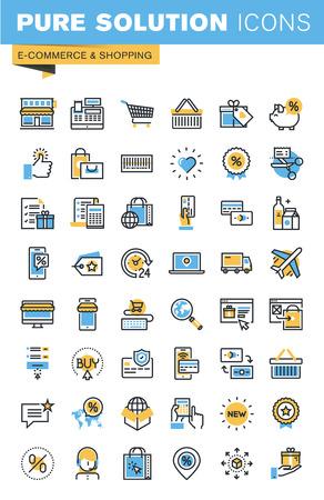 Set di sottile linea piatta icone del design di e-commerce e shopping. Icone per i siti web, siti web e applicazioni mobili, facile da usare e altamente personalizzabile. Vettoriali