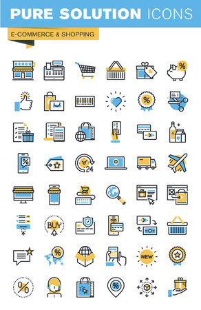 premium quality: Set of thin line flat design icons of e-commerce and shopping. Icons for websites, mobile websites and apps, easy to use and highly customizable.