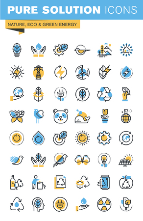 Set of thin line flat design icons of nature, eco and green energy. Icons for websites, mobile websites and apps, easy to use and highly customizable.