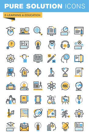 Set of thin line flat design icons of e-learning and education. Icons for websites, mobile websites and apps, easy to use and highly customizable.