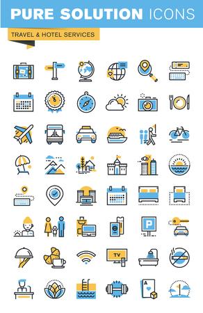 여행 및 호텔 서비스의가는 선 평면 디자인 아이콘의 집합입니다. 사용하기 쉽고 매우 최적화 된 웹 사이트, 모바일 웹 사이트와 앱에 대 한 아이콘입