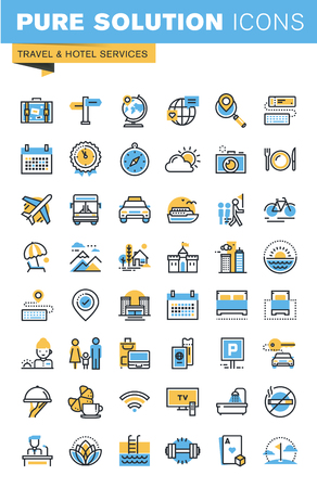 Conjunto de iconos del diseño de planos delgada línea de servicios de viajes y hoteles. Iconos para sitios web, sitios web y aplicaciones móviles, fáciles de usar y altamente personalizable. Ilustración de vector