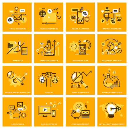 marketing research: Thin line web icons of internet marketing and advertising, social network, market research, startup, search analytics, management. illustration concepts for graphic and web design.
