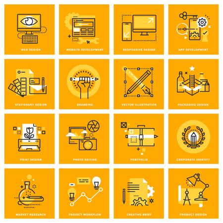 Thin ligne d'icônes Web de conception de sites Web et le développement, la conception réactive, la conception stationnaire et l'impression, l'image de marque, conception d'emballage, la retouche photo. concepts d'illustration pour la conception graphique et web.
