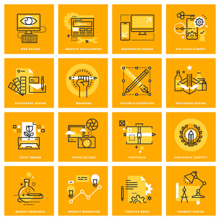 Thin line web icons of web design and development, responsive design, stationary and print design, branding, packaging design, photo editing. illustration concepts for graphic and web design.