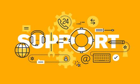 Diseño delgado línea plana para el soporte de páginas web, ayuda en línea, soporte técnico, asistencia al cliente o cliente, centro de atención telefónica. Ilustración del concepto de sitio web y el sitio web móvil banderas.
