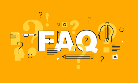 Thin line flat design for FAQ web page, online support, help, product and service information. Modern illustration concept of word FAQ for website and mobile website.
