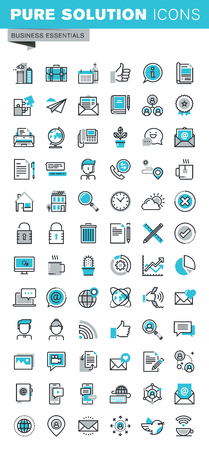 Modern thin line flat design icons set of business communication and technology, office items, internet advertising and security, basic company information. Outline icon collection for web graphic.